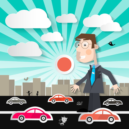overcrowded: Big Man in the City - Businessman Walking on Street with Cars in Town Vector Illustration Illustration