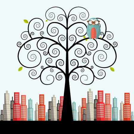 curled: Owl on Curled Tree with City on Background Vector Flat Design Illustration Illustration