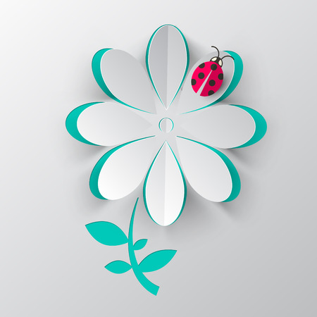 ladybird: Paper Cut Vector Flower with Ladybird Bug