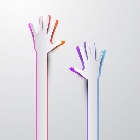 hand paper: Voting Hand - Paper Cut Palm Hands Vector Illustration Illustration