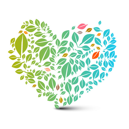 heart shaped leaves: Heart Shaped Leaves - Abstract Vector Nature Ecology Symbol Illustration