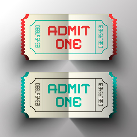 admit one: Admit One Paper Cut Vector Tickets Set