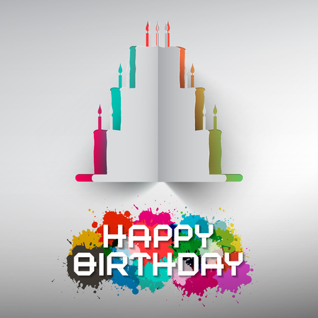 burning paper: Birthday Paper Cut Cake with Colorful Splashes and Happy Birthday Title