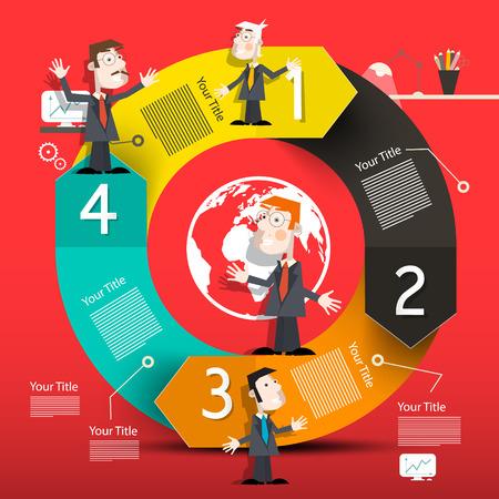 Disposition d'infographie de cercle avec des flèches et des hommes d'affaires
