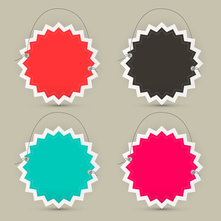 toothed: Empty Paper Toothed Star Shaped Labels - Tags or Stickers Set
