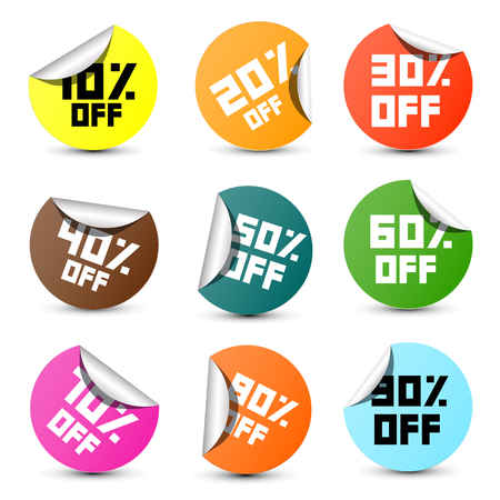 80 90: Vector Discount Circle Colorful Vector 10% off, 20% off, 30% off, 40% off, 50% off, 60% off, 70% off, 80% off, 90% off, Stickers, Labels Set