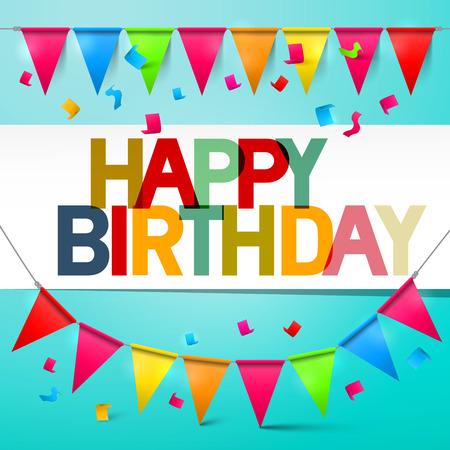Bunting tarjeta de cumpleaños colorida de retro vector feliz con banderas y confeti