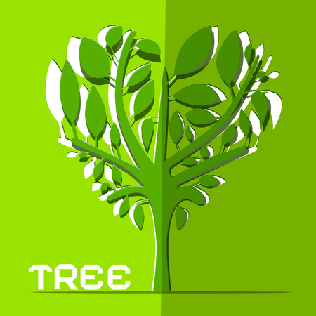 branch cut: Paper Cut Vector Tree on Green Background