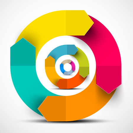 다채로운 종이 벡터 원 화살표