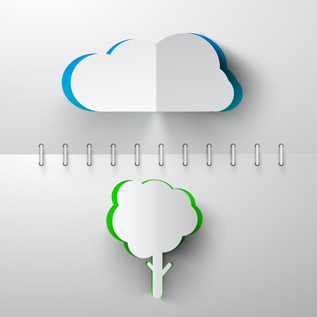 Paper Cut Vector Cloud and Tree on Notebook Background