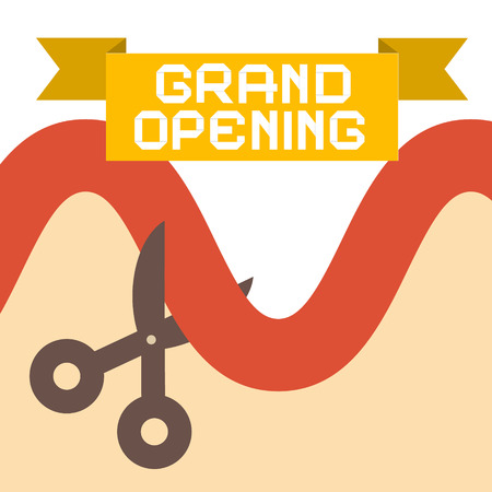 introducing: Grand Opening Flat Design Retro Vector Illustration
