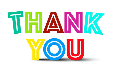 note card: Thank You Colorful Title on White Background