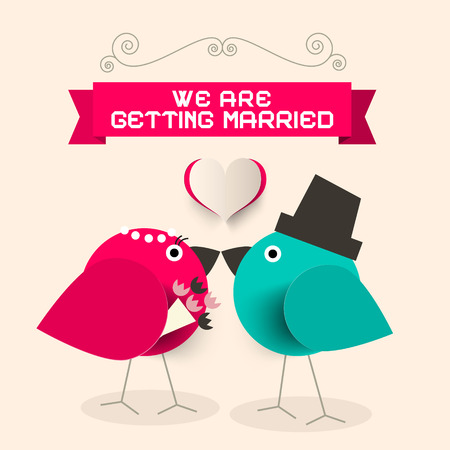 getting married: We Are Getting Married Retro Greeting Card with Kissing Paper Birds