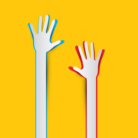 Paper Cut Hands on Geel - Oranje achtergrond vector illustratie
