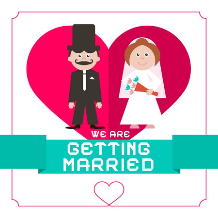 getting married: We Are Getting Married Vector Flat Design Card on White Paper Background Illustration