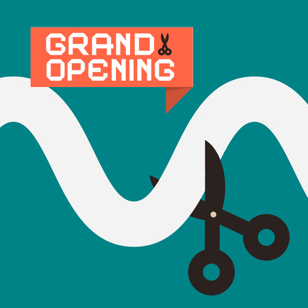inauguration: Simple Grand Opening Flat Design Card with Scissors
