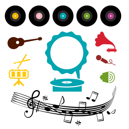 lp: LP - Vinyl Record with Gramophone and Musical Symbols - Icons
