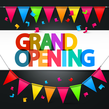 Grand Opening Retro Colorful Vector Title with Colorful Flags and Confetti Illustration