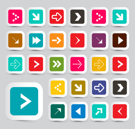 rounded squares: Arrows - Colorful Vector Paper Arrows Set in Rounded Squares