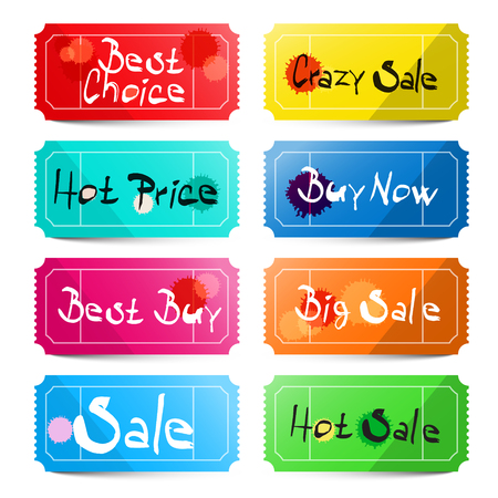 best buy: Best Choice - Crazy Sale - Hot price - Buy Now - Best Buy - Big Sale - Sale and Hot Sale Titles on Vector Tickets Labels Set