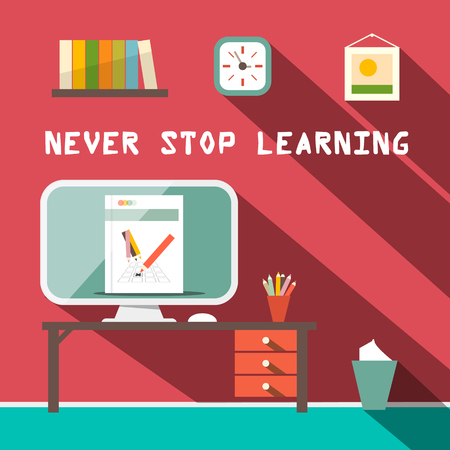 Never Stop Learning Slogan with Study Room