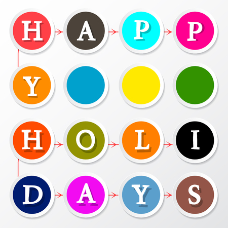 title: Happy Holidays Colorful Circles Title Illustration
