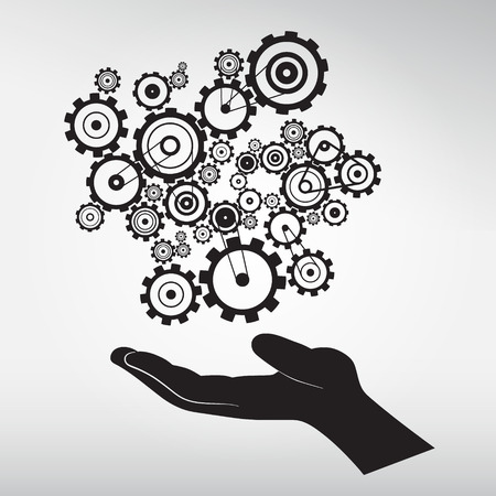 black man thinking: Human Hand with Cogs - Gears Vector Illustration