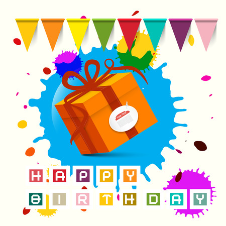 funny birthday: Happy Birthday - Gift Box with Flags and Blots - Stains