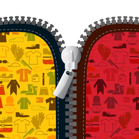 unzipped: Zipper with Textile Clothes Icons Illustration