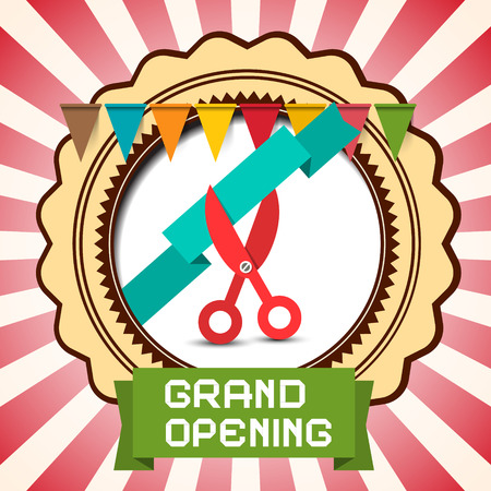 unveiling: Retro Grand Opening Vector Card with Flags - Label and Scissors with Ribbon