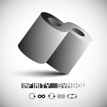 infinity symbol: Abstract Vector 3D Infinity Symbol with Infinity Signs Icons Set Illustration