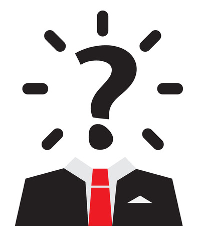 unknown men: Unknown Man with Question Mark Instead of Head Illustration