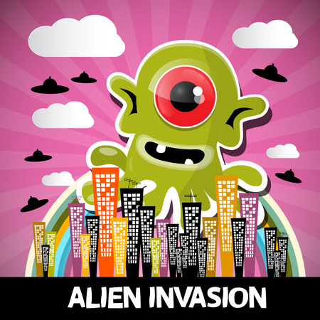 an invasion: Alien Invasion Vector Cartoon with Big Green Monster and Abstract City with UFO Illustration