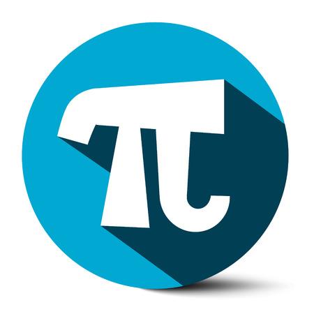 number 14: Pi Symbol - Vector 3,14 - 3,14159 Ludolf Flat Design Number pi Icon Illustration in Blue Ciircle Illustration