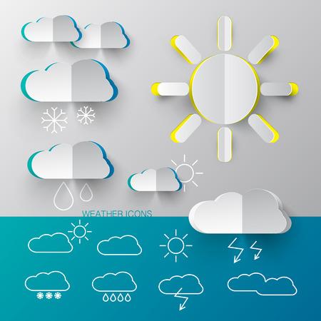 fiambres: Iconos del tiempo - Vector corte del papel y resumen de símbolos sencillos con las nubes y soles