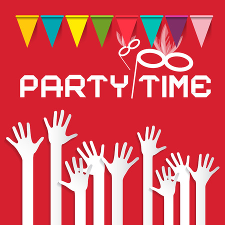 risen: Party Time Vector Illustration with Flags and Risen Hands on Red Background