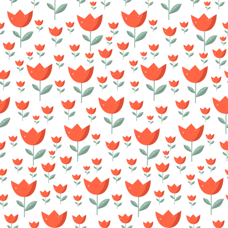 tulips: Seamless Tulip Vector Pattern - Red Tulips Flowers with Rain - Water Drops on White Background