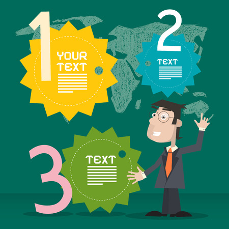 one on one meeting: Retro Infographics Template with Business Man on Green Background Illustration