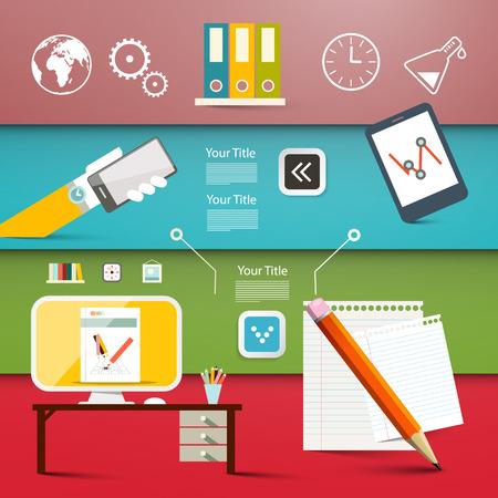 articulos de oficina: Los productos de Office - Vector diseño plano negocio o la tecnología de plantillas web Infografía - Disposición