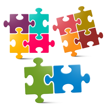 color match: Puzzle - Jigsaw Pieces on White Background Illustration