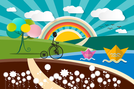autumn scene: Landscape - Abstract Vector Cartoon Flat Design Illustration with Flowers - Lake and Field with Flowers. Man on the Bicycle on the Road and paper Boats on River. Summer - Spring or Autumn Scene