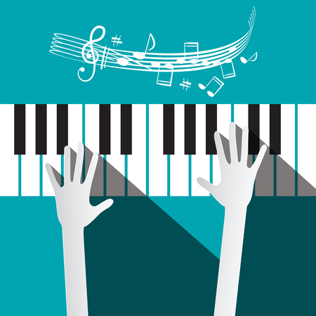 piano roll: Hands on Piano Keyboard with Stuff and Notes on Blue Background