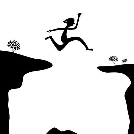 Jump Over Abyss - Jumping Man or Woman Silhouette on White Background Ilustração Vetorial