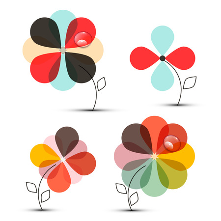 abstract flowers: Abstract Vector Flowers Set