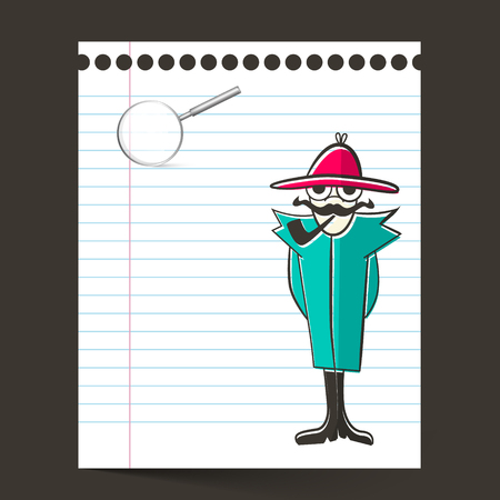 disclosure: Detective and Paper Sheet with Magnifying Glass Illustration