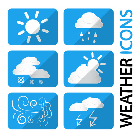 windy day: Weather Icons Set. Vector Symbols with Clouds, Sun and Snowflakes. Storm, Rain, Sunny Day, Windy and Cold. Illustration
