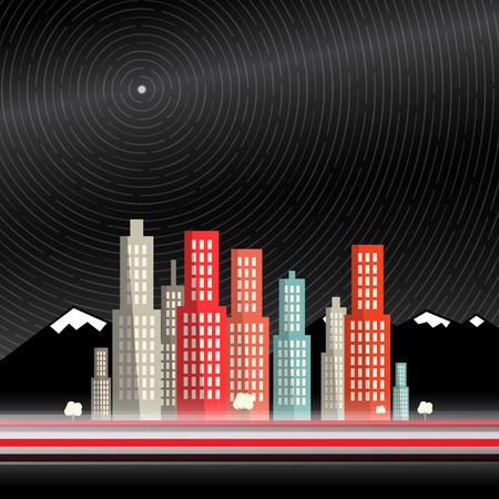 long night: Long Time Exposure. Abstract Vector City with Mountains and Star Trails with North Star on Deep Dark Night Sky. Flat Design Scene with Blurred Motion Cars and Stars. Illustration