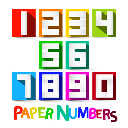 numbers background: Paper Numbers Set. Colorful Paper Cut Vector Numbers Isolated on White Background.