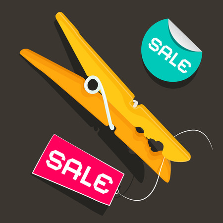 Sale Labels. Peg Vector Illustration with Sale Sticker and Tag. Illustration
