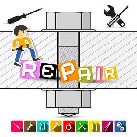 page long: Screw Illustration with Repair Title, Colorful Tools Flat Design Long Shadow Icons and Repair Man holding Wrench Vector. Web Maintenance Page.